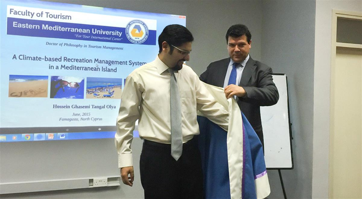 Hossein Ghasemi Tangal Olya Becomes the First Graduate of EMU Tourism Management PhD Program