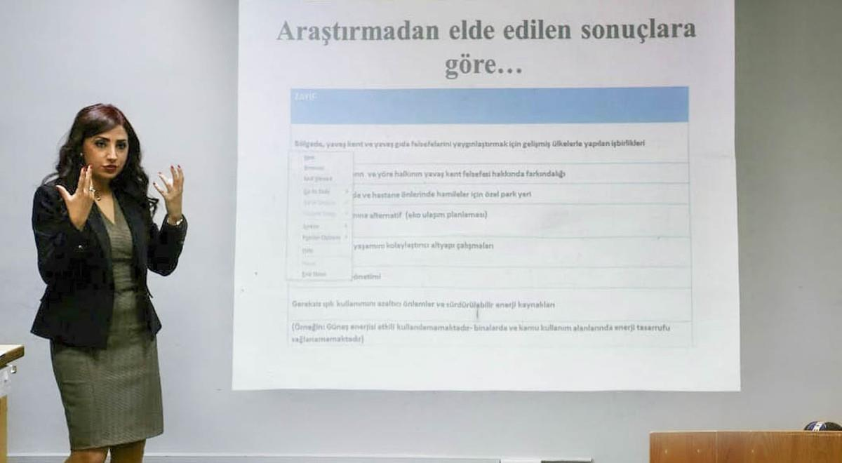 "EMU Tourism Faculty  PhD Student Ecem İnce Presents ""The Philosophy of Cittaslow (Slow City) in North Cyprus"" to Mayors"