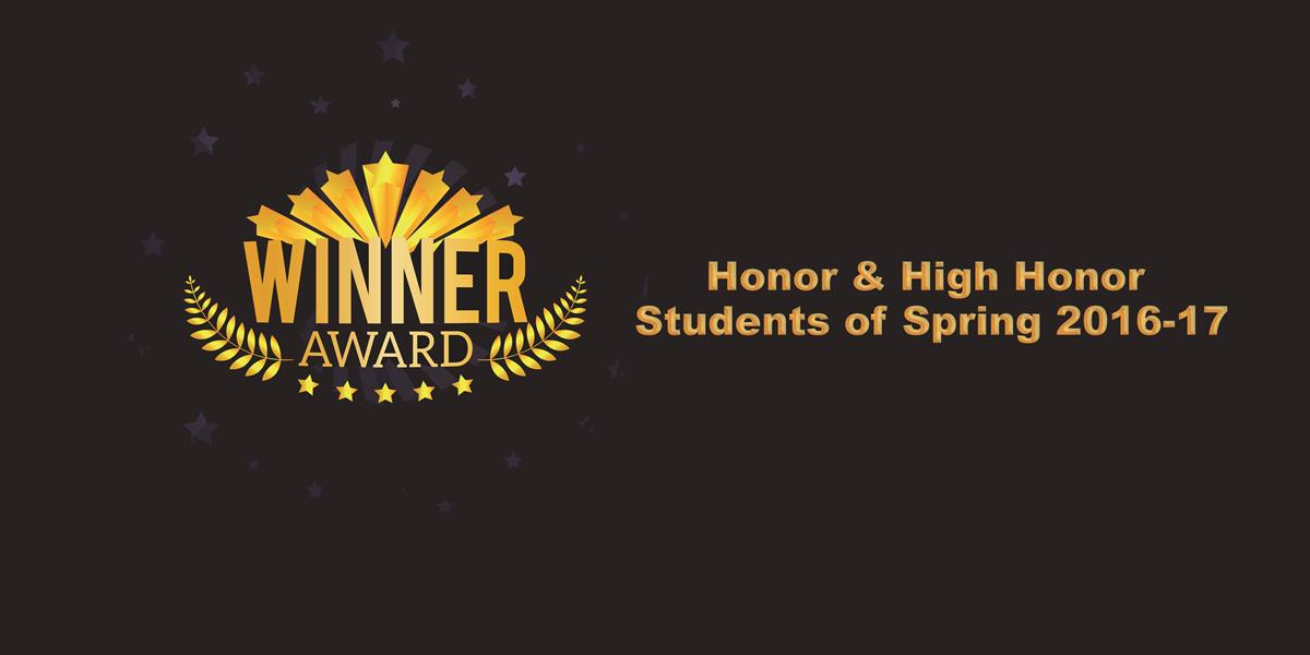 High honor and honor students of spring 2016-2017